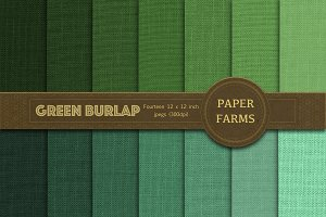 Green burlap digital paper