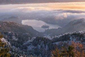 Lake Bled on a foggy winter morning
