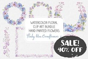 Watercolor bundle: Cornflowers I