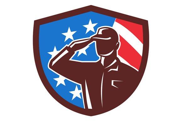 American Soldier Saluting USA Flag