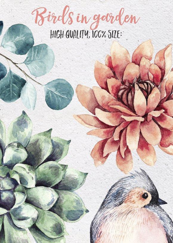 BIRDS IN GARDEN Watercolor clip art in Illustrations - product preview 2
