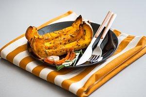 Closeup on baked pumpkin on plate