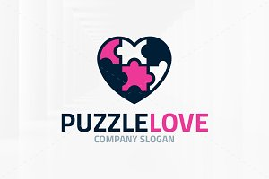 Puzzle Love Logo Template