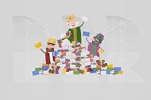 3d illustration. A heap of letters.