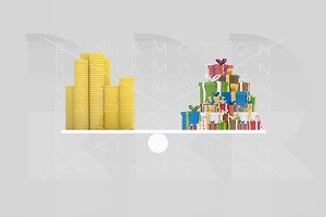 3d illustration. Money gifts balance