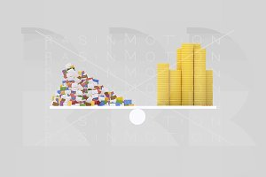 3d illustration. Letters and money.