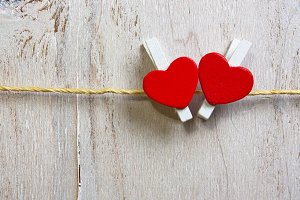 Two lovely red hearts