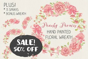 Watercolor wreath: blush Peonies