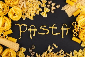 Word Pasta from pasta on the black background