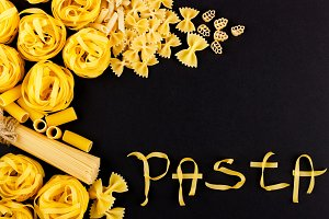 Word Pasta made from pasta on the black background