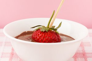 strawberries with chocolate topping