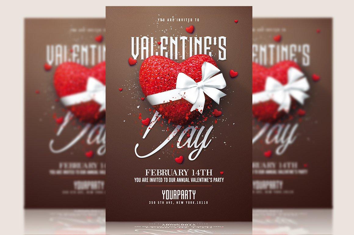 Valentines day psd invitation flyer templates creative market stopboris Image collections