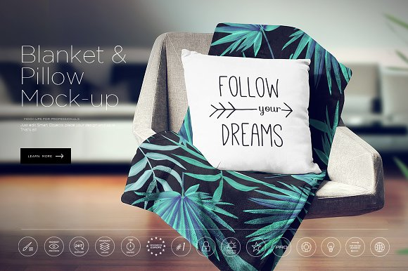 Download Blanket & Pillow On Chair Mockup