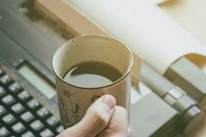 The cup of coffee at morning