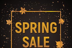 Spring sale poster with gold texture
