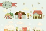 Little Houses clipart and paper set