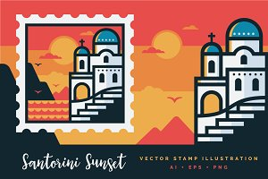 Santorini Sunset Stamp