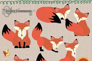 Foxes digital clipart