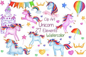 Watercolour Unicorns Clip Art