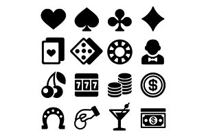 Gambling Casino Icons Set