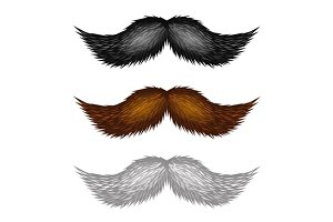 Brown, Black and White Mustaches Set