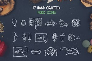 17 Hand Crafted food Icons
