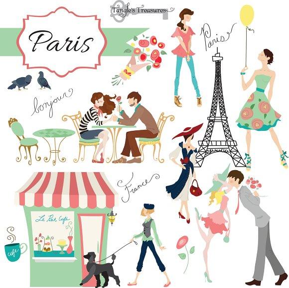Paris digital clipart set