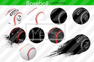 Silhouettes of baseball balls. Set
