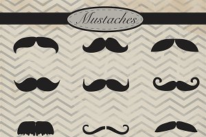 Mustaches digital clipart