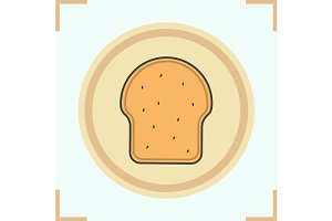 Toasted bread icon. Vector