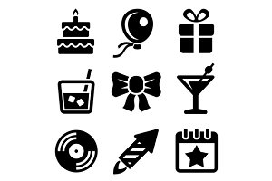 Party and Birthday Icons Set