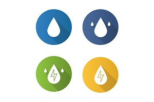 Water energy. 4 icons. Vector