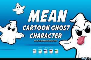 Mean Cartoon Ghost Character
