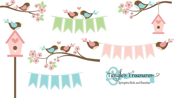 Birds and Branches Clipart in Graphics