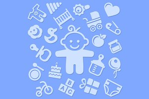 Baby Background with Icons Set