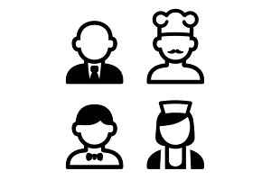Hotel and Restaurant Staff Icons
