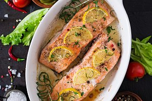 Baked salmon fillet with rosemary