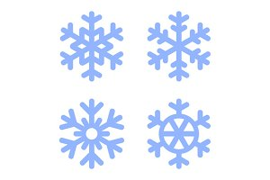 Snowflake Icons and Backgrounds Set