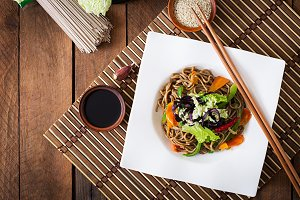 Soba noodles with beef, carrots
