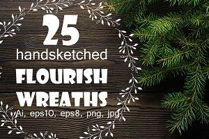 25 flourish wreaths