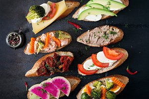 Variety of healthy sandwiches
