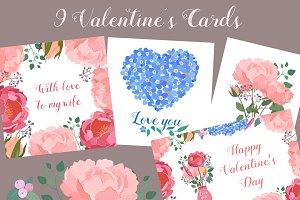 Floral Valentines Cards