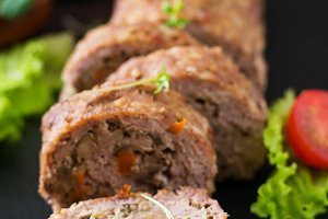 Meat loaf with mushrooms and carrots