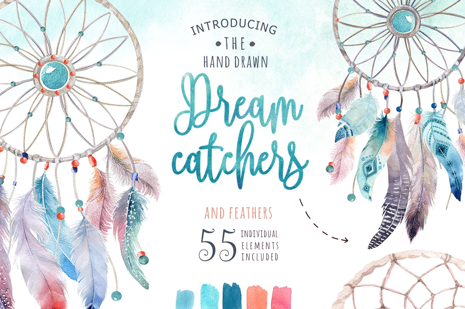 30 off watercolor dreamcatcher iii illustrations for Dream catcher graphic