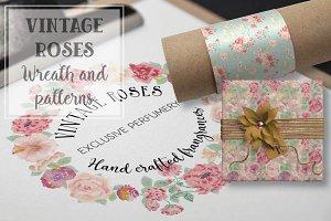 Watercolor wreath of vintage roses