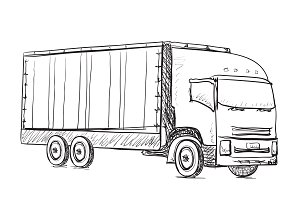 Delivery poster. Truck sketch