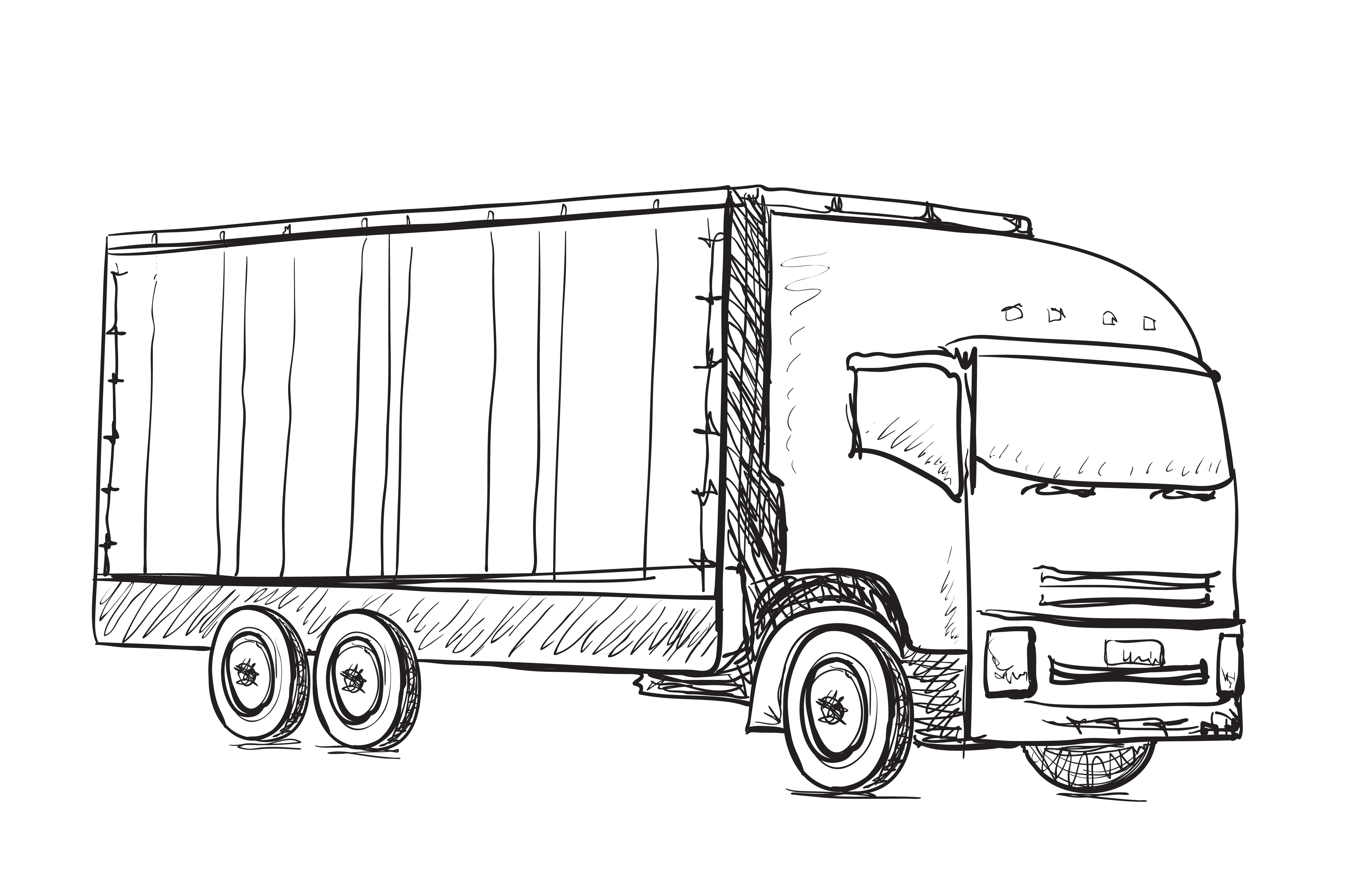 Delivery poster. Truck sketch ~ Illustrations ~ Creative