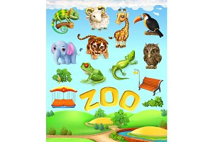 Funny animal set. Zoo 3d vector