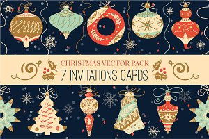 Colorful Retro Christmas Cards