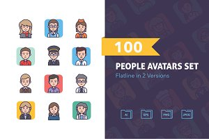 100 Flatline People Avatars Set